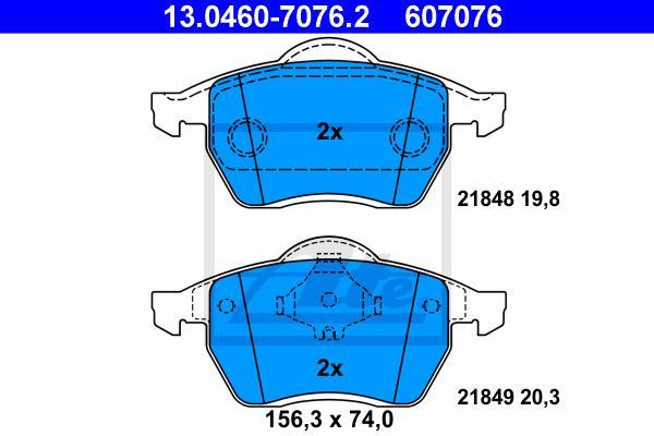 ATE 13.0460-7076.2 Bremsbelagsatz Scheibenbremse